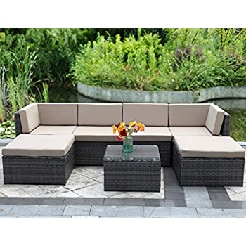 7 Piece Outdoor Wicker Sofa,Wisteria Lane Patio Furniture Set Garden Rattan  Sofa Cushioned Seat