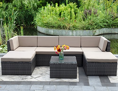 Gray Patio Furniture (Wisteria Lane 7 Piece Outdoor Wicker Sofa, Patio Furniture Set Garden Rattan Sofa Cushioned Seat with Coffee Table,Gray)