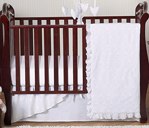 Designer Solid all White Eyelet Baby Girl Bedding 4 Piece Crib Set Without (Eyelet Baby Blanket)