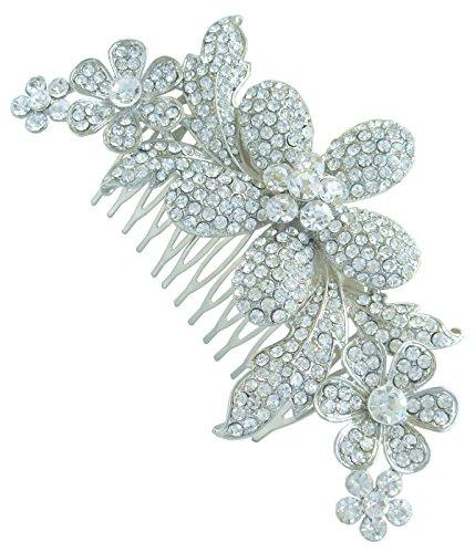 Sindary Bridal Hair Accessory 4.72'' Flower Wedding Hair Comb Silver-Tone Clear Rhinestone Crystal HZ5566 by Wedding Hair Accessories-Sindary Jewelry