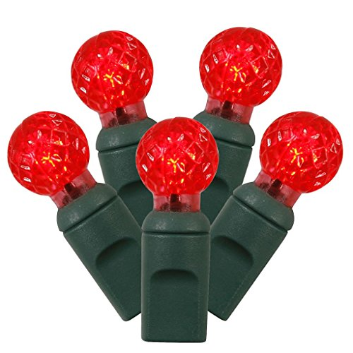 Vickerman 50 Count Single Mold G12 Berry LED Light Set with Green Wire, Red
