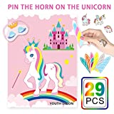 Youth Union Pin The Horn on The Unicorn Party Games for Unicorn Party Supplies Kids Birthday Party Decorations