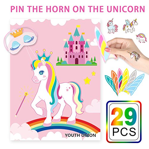YOUTH UNION Pin the Horn on the Unicorn Party Games for Unicorn Party Supplies Kids Birthday Party Decorations ()