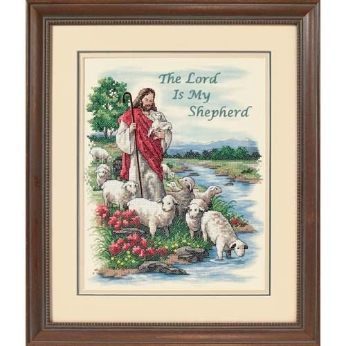 Dimensions 'Lord is My Shepard' Stamped Cross Stitch Kit, 11'' W x 14'' H ()