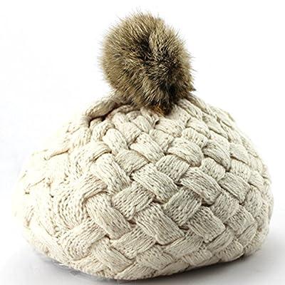 Baby Girls Knit Beanie Crochet Rib Pom Pom Warm Hat Cap for Winter