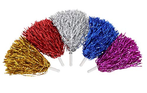 NINESUMMER Cheerleading Pom Poms 6pcs/10pcs - 5 Colors to Choose Cheerleader Poms Metallic Foil Pompoms Squad Cheer Sports Useful Accessories, for Ball Dance Fancy Dress Night Party Sports