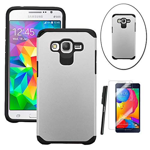 Shockproof Hybrid TPU Case for Samsung Galaxy Grand Prime (Black/Silver) - 1