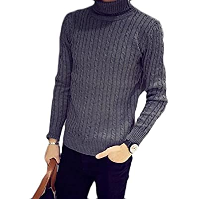 Abetteric Mens Long Sleeve Knitting High Neck Solid Sweater Outwear Pullover supplier