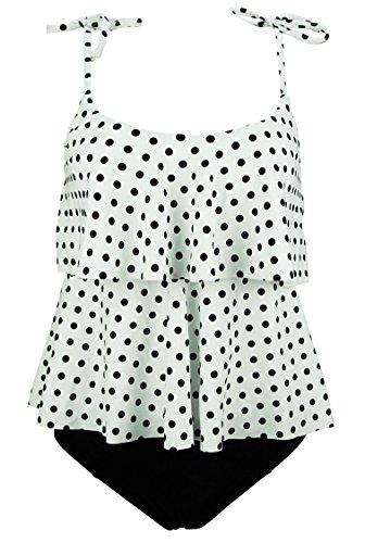 COCOSHIP White & Black Polka Dot Women's Ruffled Cute Bikini Set Shoulder Straps Tiered Top Falbala Bathing Suit Swimwear 10(FBA) (Tiered Polka Dot)