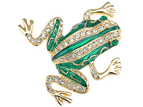 Rhinestone Frog Pin - Alilang Czech Crystal Rhinestone Emerald Golden Frog Fashion Jewelry Pin Brooch