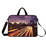 15' Neoprene Laptop Bag Sleeve with Handle,Adjustable Shoulder Strap & External Side Pocket,City,Brooklyn Bridge at Night Car Traffic in New York United States Transport,Lilac Dark Orange Yellow