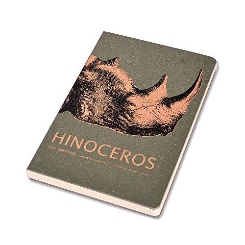 Enwraps EG Series – Vintage Design Rhinocers – Green Hard Bound Notebook 130 Pages