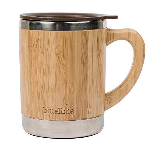 Bluelime Bamboo Coffee Mug – Stainless Steel Wooden Coffee Tea Mug: Insulated – Light & Portable for Office – Lid and Handle – Keeps Drinks Hot or Cold – 10 oz – 100% Eco-Friendly