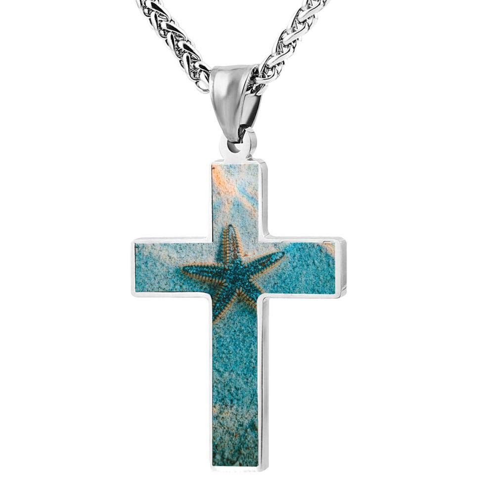 Brniogn Cross Necklace,Starfish Sea Beach Print Pattern Prayer Christ Necklace Pendant Custom 24 Inch