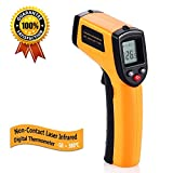 Tekit -50~320℃ Non-contact Digital Infrared Thermometer Temperature Gun with Laser Yellow/Black Battery Included
