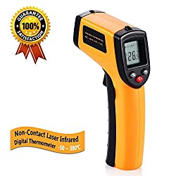 Tekit 50 320℃ Non Contact Digital Infrared Thermometer Temperature Gun With Laser Yellow Black Battery Included