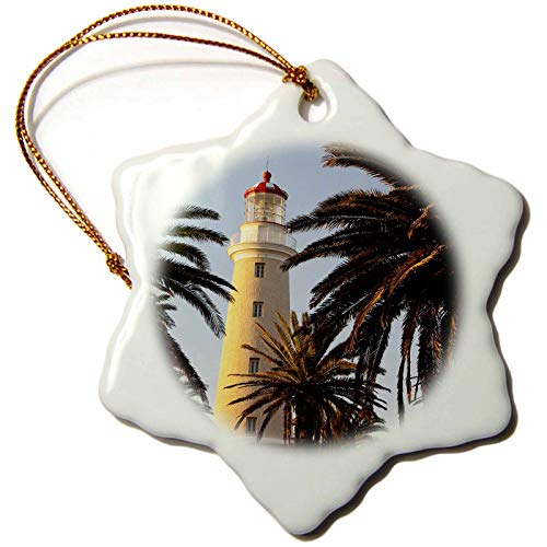 (3dRose Danita Delimont - Uruguay - East Point Lighthouse, Punta Del Este, Uruguay, South America - 3 inch Snowflake Porcelain Ornament (ORN_314401_1))