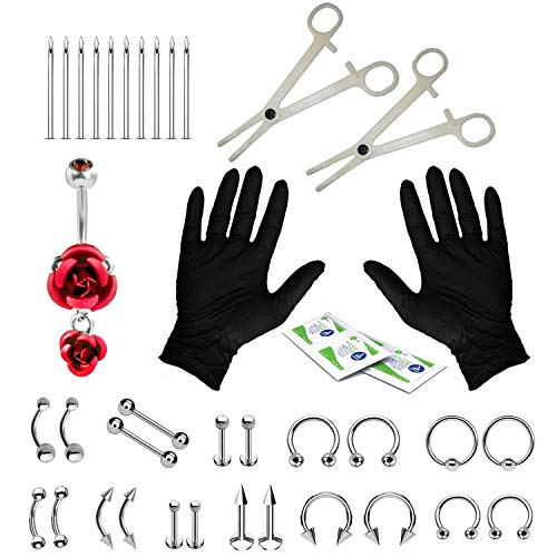 BodyJ4You 36PC PRO Piercing Kit Steel 14G 16G Red Rose Belly Ring Tongue Nipple Nose Jewelry (Piercing Monroe Kit)