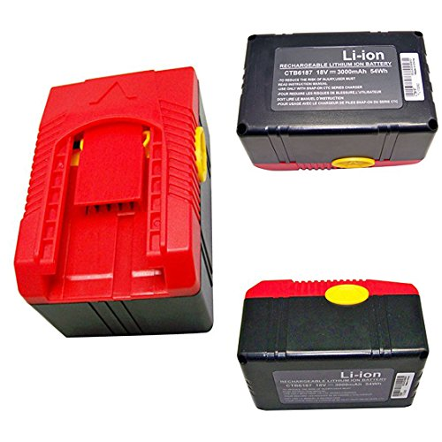 Powerwings 18v Lithium Ion Battery Ctb6187 for Snap on Ctrs6855 Ctrs6850 Ctrs6850db Seires Cordless Reciprocating Saw by PowerWings