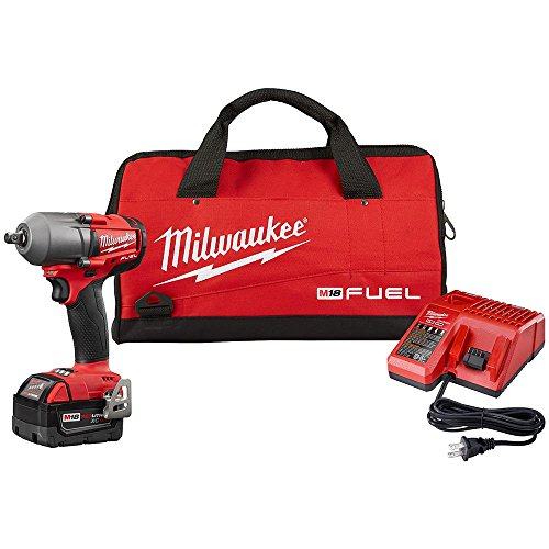 Milwaukee M18 Fuel 18-Volt Lithium-Ion 1/2 in. Brushless Cordless Mid Torque Impact Wrench W/ Pin Detent Kit W/ (1) 5.0Ah Battery (New Open Box)