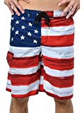 VbrandeD Men's American Flag Inspired Board Shorts Red XL