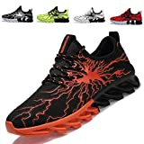 Men's Boy's Running Shoes Fashion Breathable Sneakers Lightweight Casual Walking Athletic Shoes Black/Orange 8.5 D(M) US/42EU