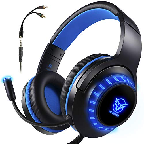 Gaming Headset for PS4, Xbox One, Over-Ear Headhones with Stereo Sound LED Light Mic Blue