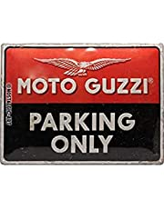 Nostalgic-ArtMoto Guzzi - Parking Only - Gift idea for motorcycle fansRetro Tin SignMetal PlaqueVintage design for decoration30 x 40 cm