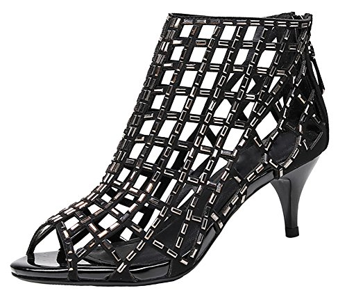 jiandick Womens Rhinestone Ankle Bootie Prom Heeled Sandals Evening Dress Stiletto High Heel (7, black-2inch) (Strappy Prom Gowns)