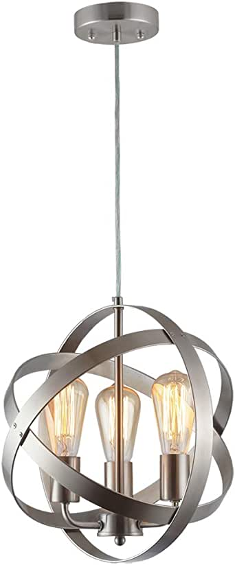 Truelite Industrial Vintage Pendant Light Silver/&Gray Metal Globe Downlight
