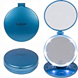 Lighted Makeup Mirror 15x Travel Makeup Mirror with Lights - 1X and 5X Magnifying Makeup Mirror with Dimmable Lights, Batteries Included, Metallic Blue