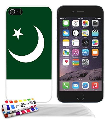 Ultraflache weiche Schutzhülle APPLE IPHONE 5 [Flagge Pakistan] [Weiss] von MUZZANO + 3 Display-Schutzfolien UltraClear + STIFT und MICROFASERTUCH MUZZANO® GRATIS - Das ULTIMATIVE, ELEGANTE UND LANGLE