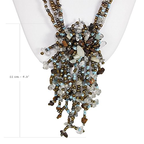 Ice Bijoux Turquoise Beads with Shells Necklace For Women Y Drop Long Necklace 27.5' Malaysia Collection by Ice Bijoux (Image #4)