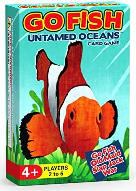 Arizona GameCo Go Fish Untamed Oceans - Go Fish, Old Maid, Slap Jack and War - Play 4 Classic Card Games for Kids with 1 Single Deck
