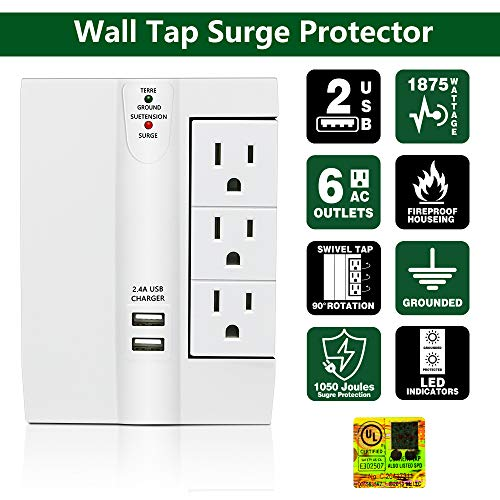 6 Protected Outlets Wall Surge Protector Multi Plug Outlet Wall Tap 2 USB Ports