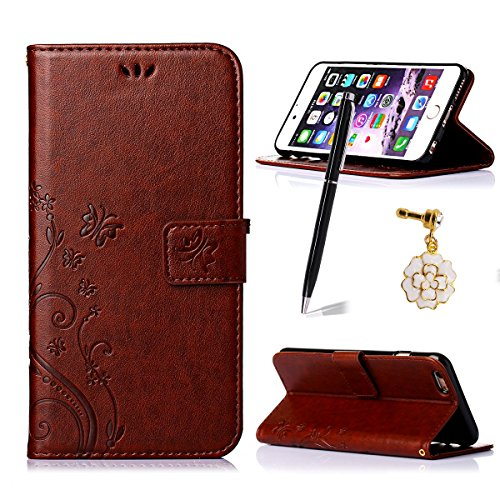 iphone 6 Plus/6S Plus Case,Qidreamcase [Kickstand][Card Slot][Flip][Slim Fit][Flower+Butterfly Pattern] - PU Leather Wallet Case for iphone 6 Plus/6S Plus [Reddish - Take Debit Stores That Online