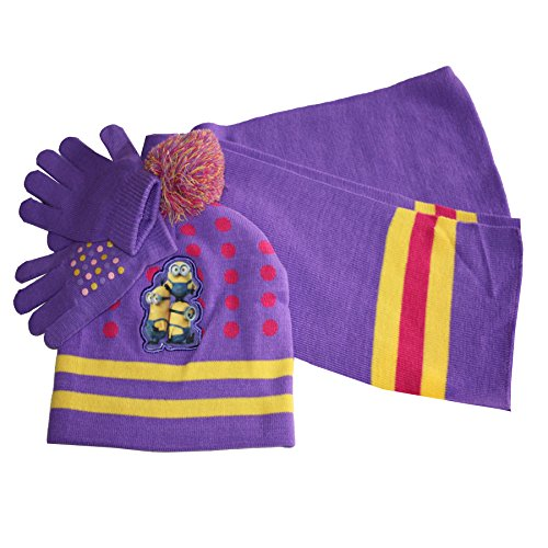 Despicable Me Little Girls' Minions Beanie Hat Gloves and Scarf