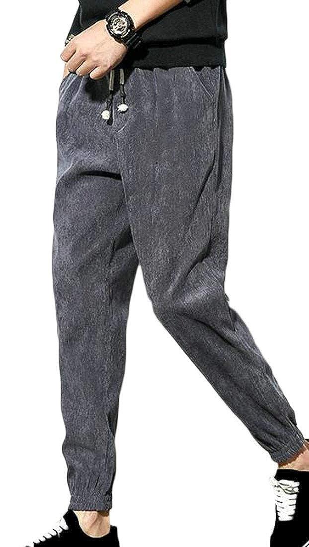 Sweatwater Mens Waist Drawstring Harem Fleece Baggy Casual Jogger Pants