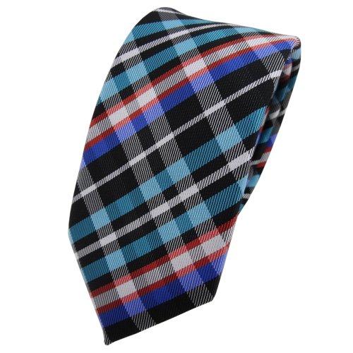 étroit TigerTie cravate turquoise orange bleu noir argent à carreaux - cravate Tie