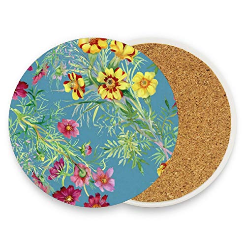 Summer Spring Flowers Coasters, Prevent Furniture From Dirty And Scratched, Round Wood Coasters Set Suitable For Kinds Of Mugs And Cups, Living Room Decorations Gift Set Of 2