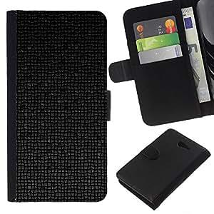 KLONGSHOP // Tirón de la caja Cartera de cuero con ranuras para tarjetas - Patrón de arte Polígono 3D Futurista Negro - Sony Xperia M2 //