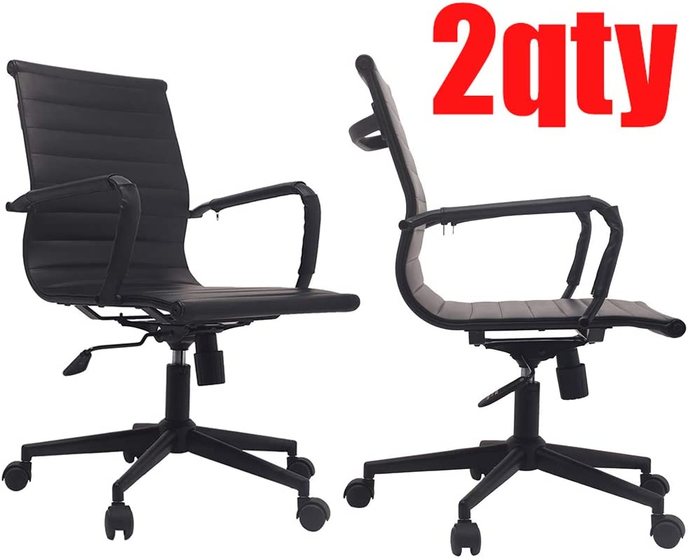 2xhome – Set of Two 2 Modern Mid Back Ribbed PU Leather Swivel Tilt Adjustable Chair Designer Boss Executive Management Manager Office Conference Room Work Task Computer BOB x2