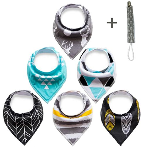 Heavy Duty Bibs (Heavy Duty Baby Bandana drool Bibs are Made for Heavily Drooling and Teething Babies. Super Absorbent Extra Soft Bandana Bibs for Boys and Girls 6pk are Easy to Care, come with free Pacifier Holder.)