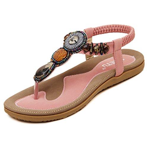 Bohemian Pink DQQ Gemstone Women's Sandal Thong SgaqC