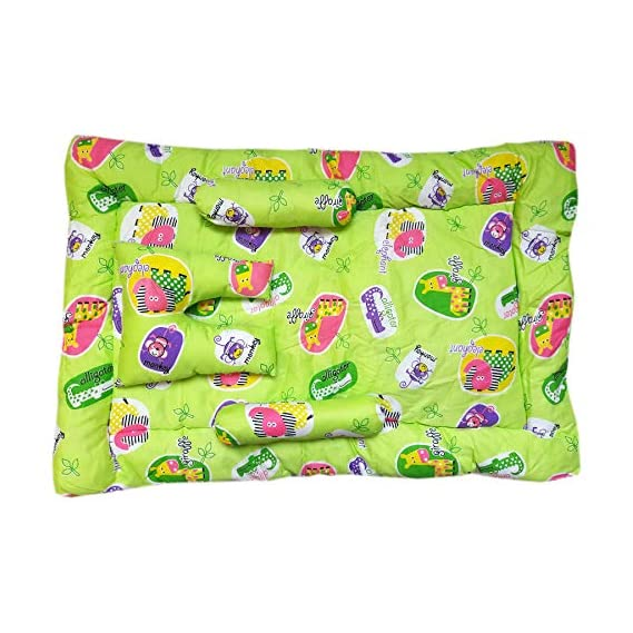 Artonic Newborn Baby Bedding Set/Mattress/Gaddi Set with Baby Pillow & 2 Side Bolsters for Kids Age 0 to 6 Moths (Blue)