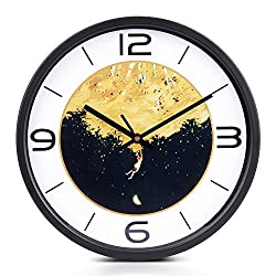 Vintage Wall Clock Silent 12 Inches Large Round Country Style Metal Electronic Clock Outdoor Indoor Decoration for Home Office and School by Egundo