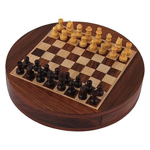 CHRISTMAS GIFT/ CHRISTMAS SPECIAL Crafts'man round Wooden Chess Game with Diameter 9 inches