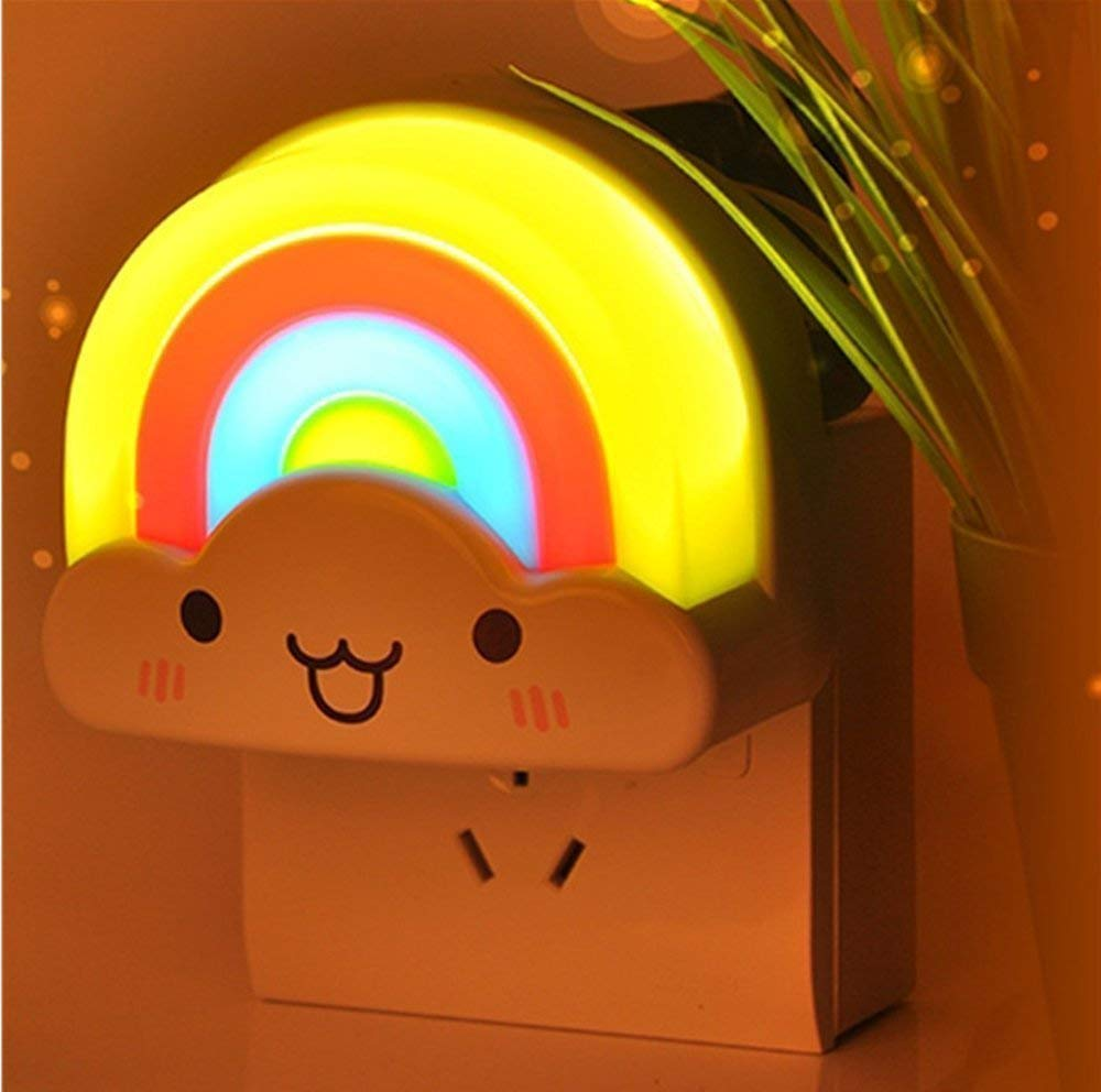 Baby Night Light, OxyLED Kids Bedside LED Night Lamp Rainbow Toddler Nursery Nightlight with Voice Light Sensor - Plug in Wall