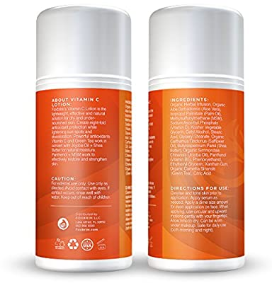 Vitamin C Lotion - BEST Facial Moisturizer #1 Natural Face Lotion - Complete Ingredients 15% Vitamin C, MSM, Green Tea, Jojoba Oil & More - Natural & Organic - Perfect for All Skin Types - Soothing Natural Moisture - Results with Amazing Guarantee