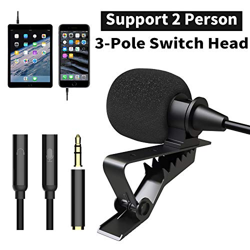 Lavalier Lapel Microphone, Dr.meter Best Professional Omnidirectional Mic with Easy Clip On System for Apple iPhone Android & Windows Smartphones YouTube/Interview/Video Conference/Podcast